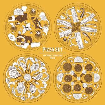Włoskie pizze ręcznie rysowane wektor zestaw ilustracji. może być używany do pizzerii, kawiarni, restauracji.