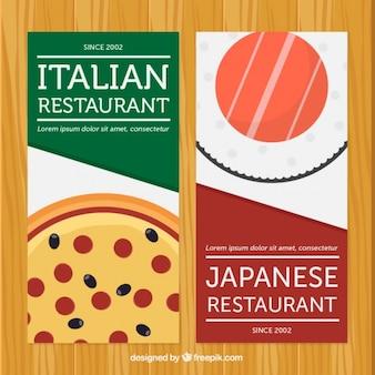 Włoskiej i japońskiej restauracji banery