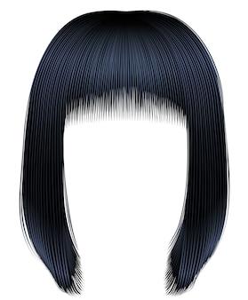 Włosy brunetki czarne kolory. kare fringe.