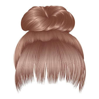 Włosy kok z frędzlami w blond kolorach. moda uroda kobiety.