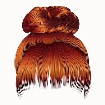 Włosy kok z grzywką czerwone rude rude kolory. moda damska.