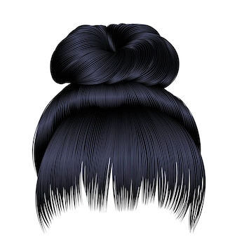 Włosy w kok z frędzlami, czarne, ciemne kolory. kolory. kręcone włosy z frędzlami brunetki, czarne ciemne kolory.