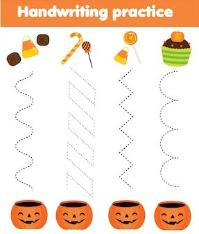 Włóż halloweenowe słodycze do kosza. arkusz ćwiczeń pisma ręcznego. gra edukacyjna dla dzieci. śledzenie przedszkolne dla dzieci i małych dzieci.