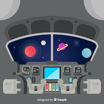 Wnętrze statku kosmicznego tło z płaskim projektem