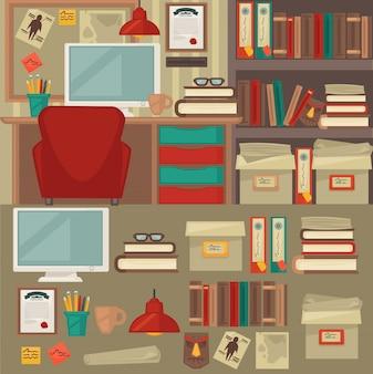 Wnętrza i przedmioty mebli biurowych.
