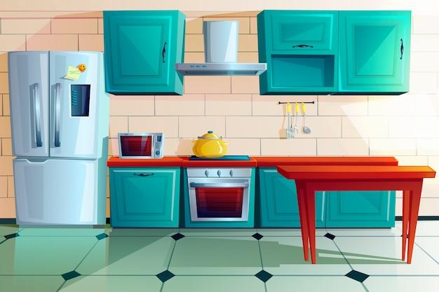 Wnętrza kuchni witn drewniane meble kreskówka