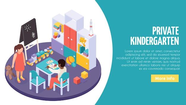 Wnętrza małej sali lekcyjnej prywatnego przedszkola z indywidualną zabawą, połączeniem zajęć edukacyjnych, izometryczna strona internetowa