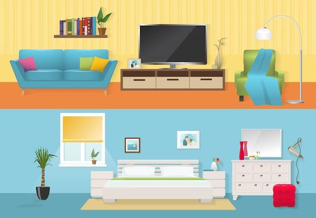 Wnętrza płaskie kompozycje z wygodnymi meblami w salonie i sypialni w niebiesko-białych kolorach na białym tle ilustracji wektorowych