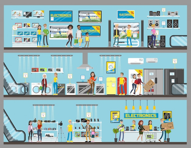 Wnętrza pokoi centrum elektronicznego centrum handlowego z klientami.