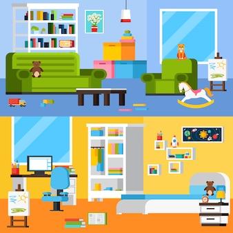 Wnętrza pokoju dziecka płaskie poziome banery