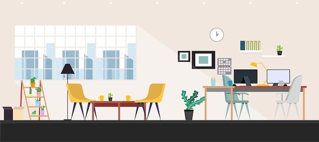 Wnętrza pomieszczeń biurowych z biznesową ilustracją komputera