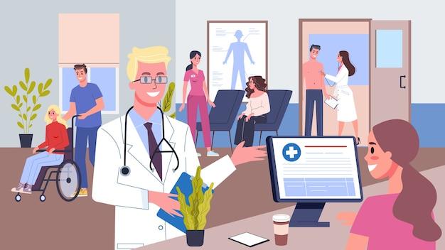 Wnętrza recepcji szpitala. osoby czekające w kolejce na konsultację lekarską. badanie lekarskie. kobieca postać w recepcji. pracownik zawodowy w mundurze. ilustracja
