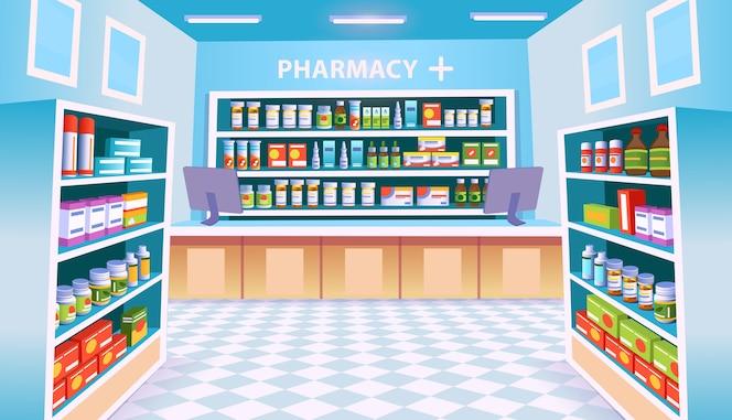 Wnętrze apteki z półkami na tabletki.