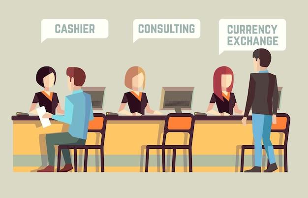 Wnętrze banku z kasjerami i klientami