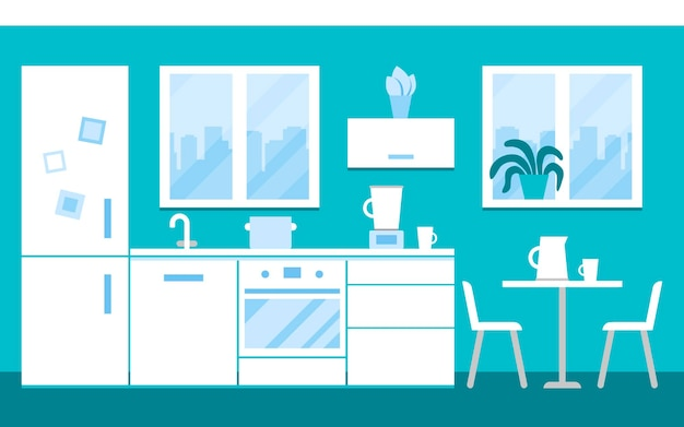 Wnętrze białej kuchni w domu ze sprzętem i meblami kuchnia z kuchenką stół lodówka