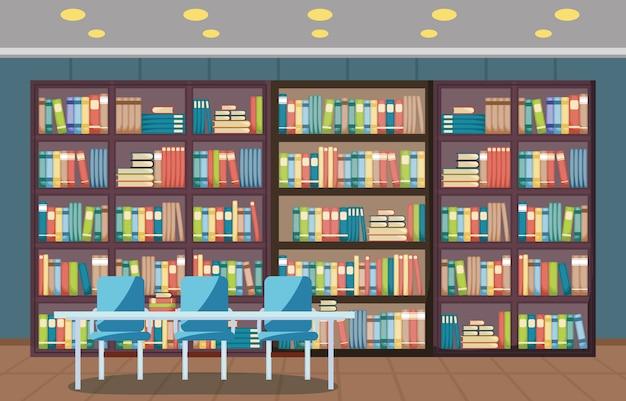 Wnętrze biblioteki publicznej stos książki na płaskim półce