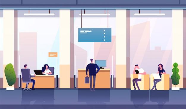 Wnętrze biura banku. profesjonalna inwestycja w bankowość zarządzania. pustego banku centrum konsultacyjne biurowy biznes pieniężny