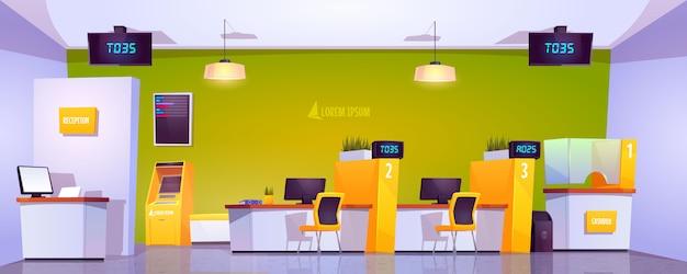 Wnętrze biura banku z bankomatem, kasą i stolikami
