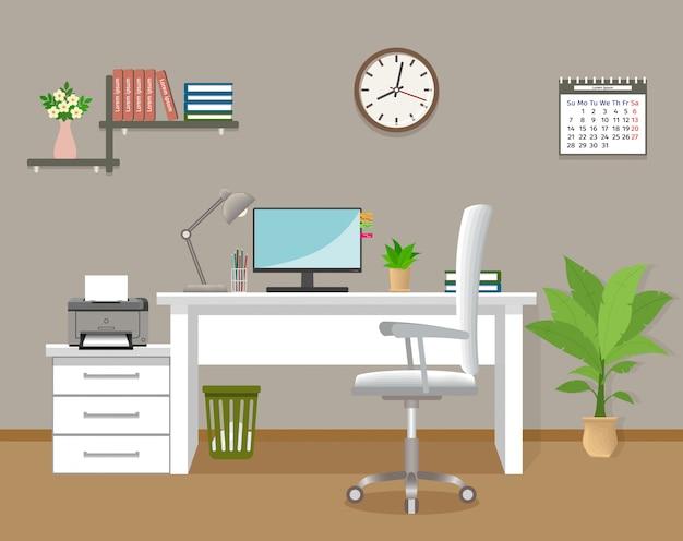 Wnętrze biura bez ludzi. pracujący szablon wewnętrzny pokój w korporacyjnym budynku. pomieszczenie biurowe z meblami i oknem. ilustracja wektorowa urządzony.