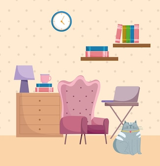 Wnętrze biura domowego klasyczny fotel stół z laptopem i zegarem na ścianie ilustracja