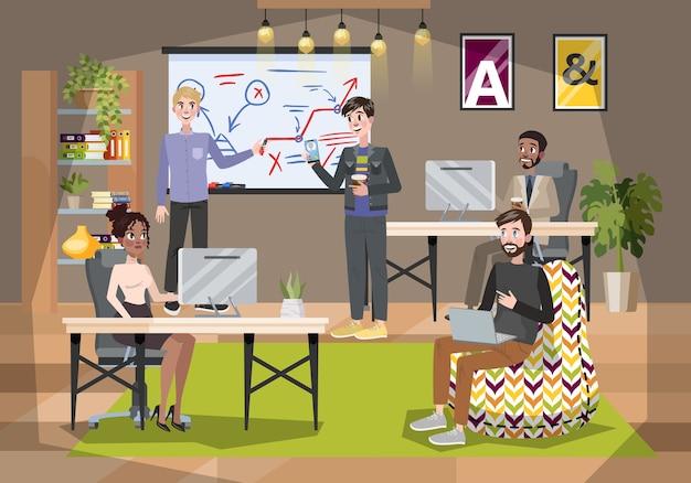 Wnętrze biura. firma coworkingowa, miejsce pracy dla freelancera