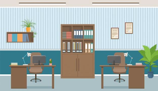 Wnętrze biura miejsce pracy z dwoma miejscami pracy i meblami biurowymi, takimi jak stoły, laptopy.
