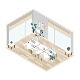 Wnętrze biura otwartej przestrzeni w izometrycznej