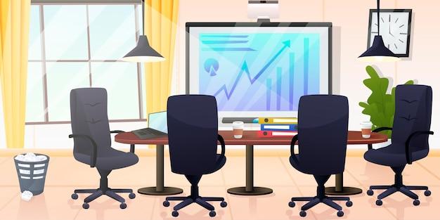 Wnętrze biura w nowoczesnym stylu cartoon