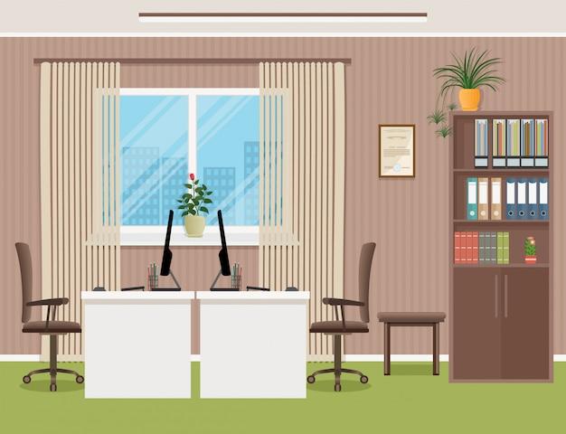 Wnętrze biura z meblami, w tym biurkiem, fotelami, laptopem i oknem.
