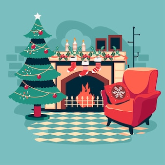 Wnętrze boże narodzenie z magicznym świecącym kominkiem choinkowym i prezentami