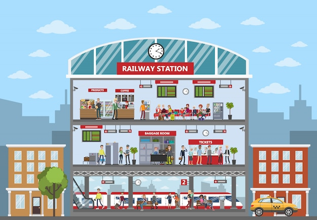 Wnętrze budynku dworca kolejowego z pasażerami i gośćmi.