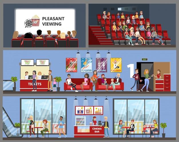 Wnętrze budynku kina z ludźmi oglądającymi film i jedzącymi.