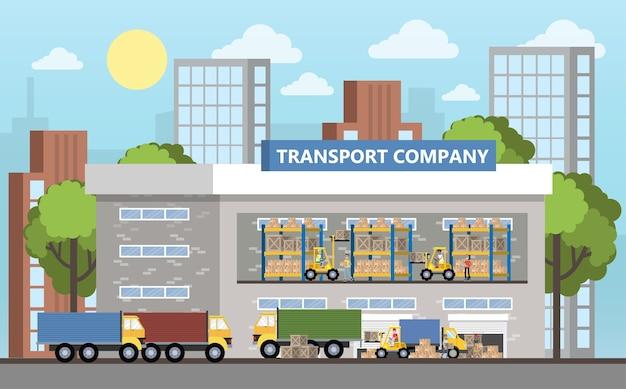 Wnętrze budynku magazynowego lub dostawczego. pracownicy z kontenerami i skrzyniami. firma transportowa z magazynem pudełkowym. płaskie ilustracji wektorowych na białym tle