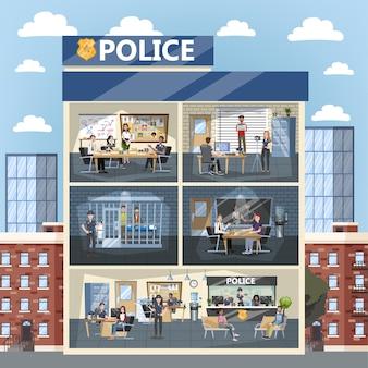 Wnętrze budynku posterunku policji. policjant w środku