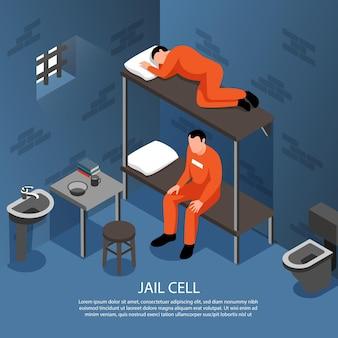 Wnętrze celi więziennej z izometryczną ilustracją metalowych prętów