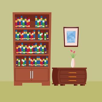 Wnętrze domu ikona kreskówka meble