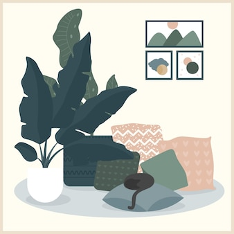 Wnętrze domu. przytulne, komfortowe elementy wystroju domu