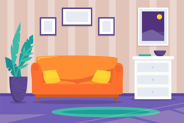 Wnętrze domu w tle pomarańczowy kanapa