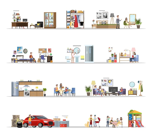 Wnętrze domu wraz z zestawem garażowym. dom z kuchnią i łazienką, sypialnią i salonem. grill na podwórku. płaskie ilustracji wektorowych