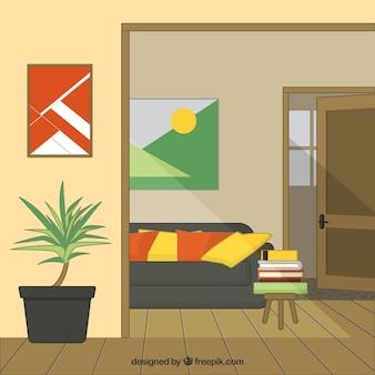 Wnętrze domu z drewnianą podłogą