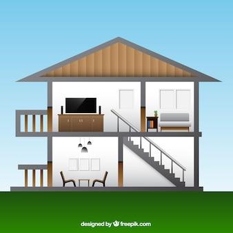 Wnętrze domu z pokojami w płaskiej konstrukcji