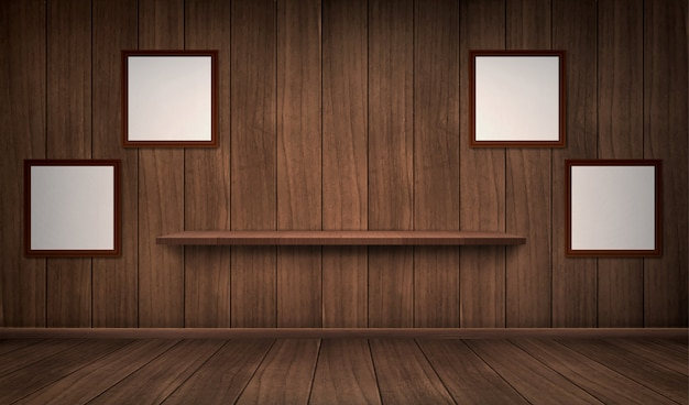 Wnętrze drewnianego pokoju z półką i ramami