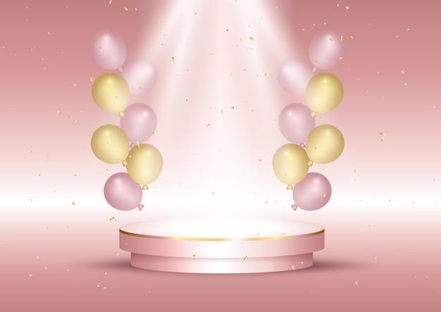 Wnętrze ekspozycyjne z balonami i pustym podium w kolorze różowego złota
