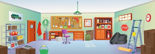 Wnętrze garażu lub piwnicy z narzędziami, stołem, półkami, drabiną, skrzyniami, oponami.