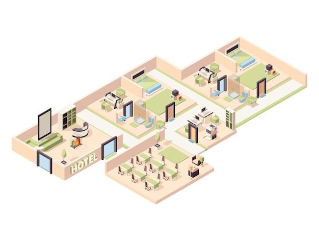 Wnętrze hotelu. nowoczesne luksusowe pokoje hotelowe strefa wypoczynkowa basen wygodna restauracja łazienka parking izometryczny
