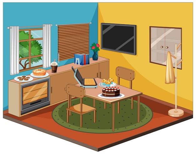 Wnętrze jadalni z meblami