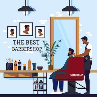 Wnętrze kabiny z napisem najlepszy salon fryzjerski