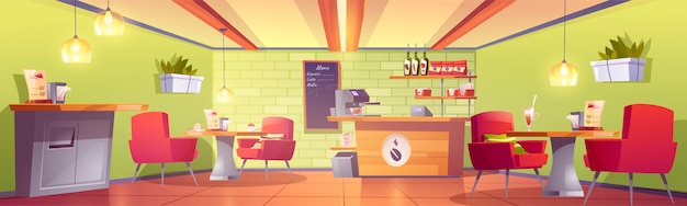 Wnętrze kawiarni lub kawiarni z kasą, maszyną, tablicą menu, półką z opakowaniami palonej fasoli, stołami i fotelami, koszem na śmieci. pusta stołówka, strefa gastronomiczna. ilustracja kreskówka wektor