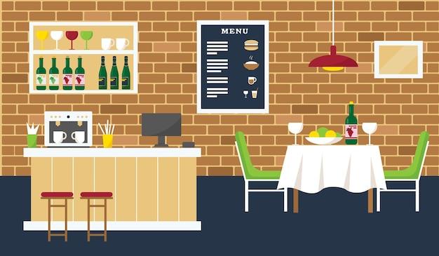 Wnętrze kawiarni lub restauracji z barem, kawiarnią i stołem.