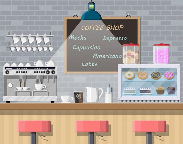 Wnętrze kawiarni, pubu, kawiarni lub baru.